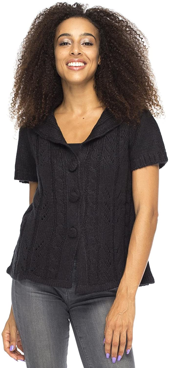 Back From Bali Italia Vest Black Womens Cable Knit Short Sleeve Boho Cardigan S/M