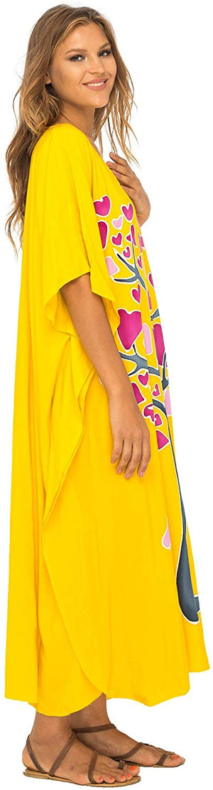 Long Maxi Opaque Batik Caftan Cover up in Love Tree Design