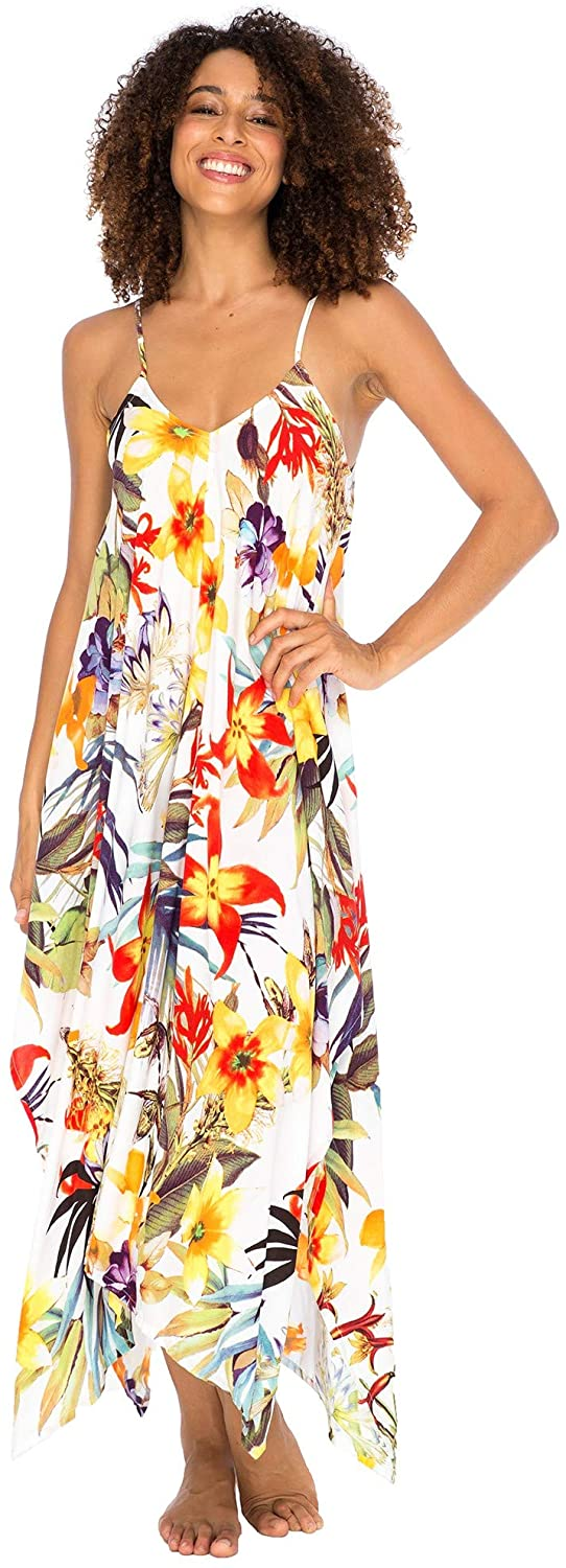 Back From Bali Womens Sleeveless Floral Summer Maxi Dress, Spaghetti Straps Long Casual Boho Sexy Beach Cover Up White Floral S/M