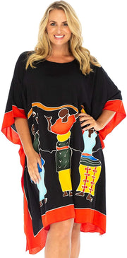 Back From Bali Womens Beach Swim Suit Cover Up Caftan Poncho Short Africa Women Dancers Black