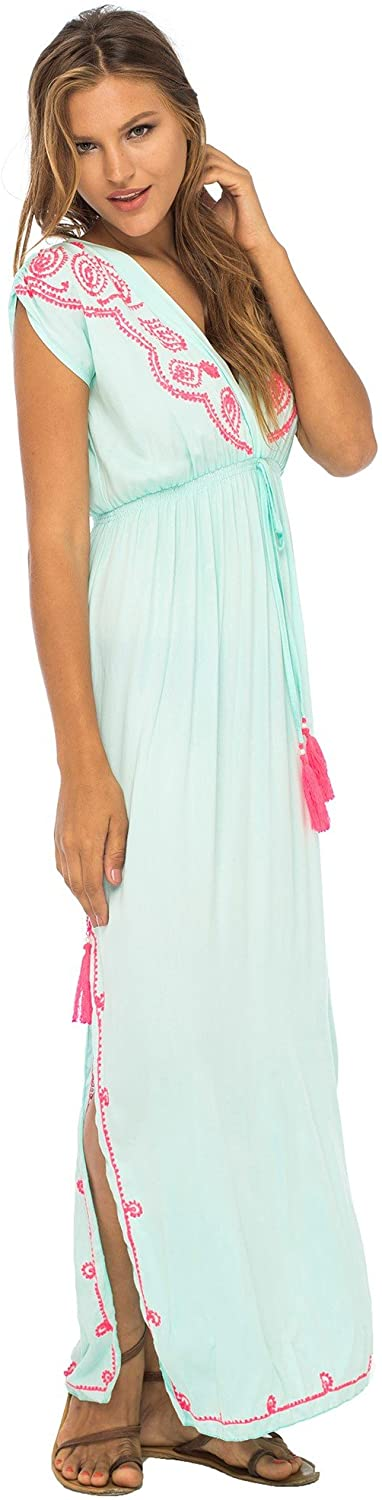 Back From Bali Womens Long Maxi Dress Boho Embroidered Sleeveless Summer Sundress Deep V Neck Aqua S/M