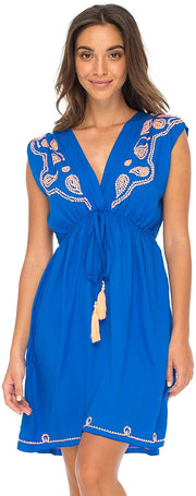 Back From Bali Womens Dress Boho Embroidered Sleeveless Summer Sundress Deep V Neck Midi Short Dress Royal Blue S/M