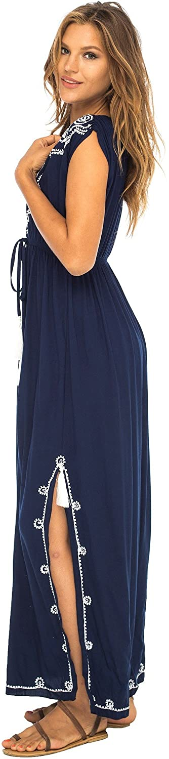 Back From Bali Womens Long Maxi Dress Boho Embroidered Sleeveless Summer Sundress Deep V Neck Navy S/M