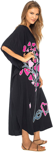 Back From Bali Womens Beach Cover Up Maxi, Kaftan Love Tree Beach Dress Swimsuit Cover Up Black L/XL