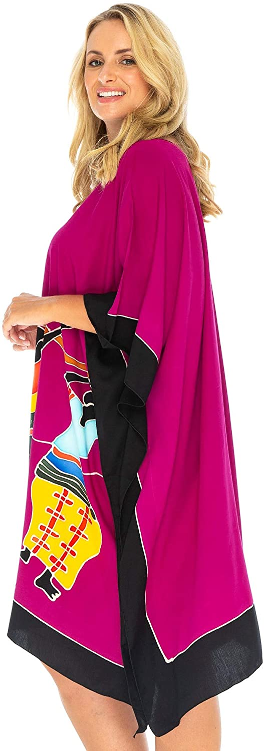 Back From Bali Womens Beach Swim Suit Cover Up Caftan Poncho Short Africa Women Dancers Fuchsia