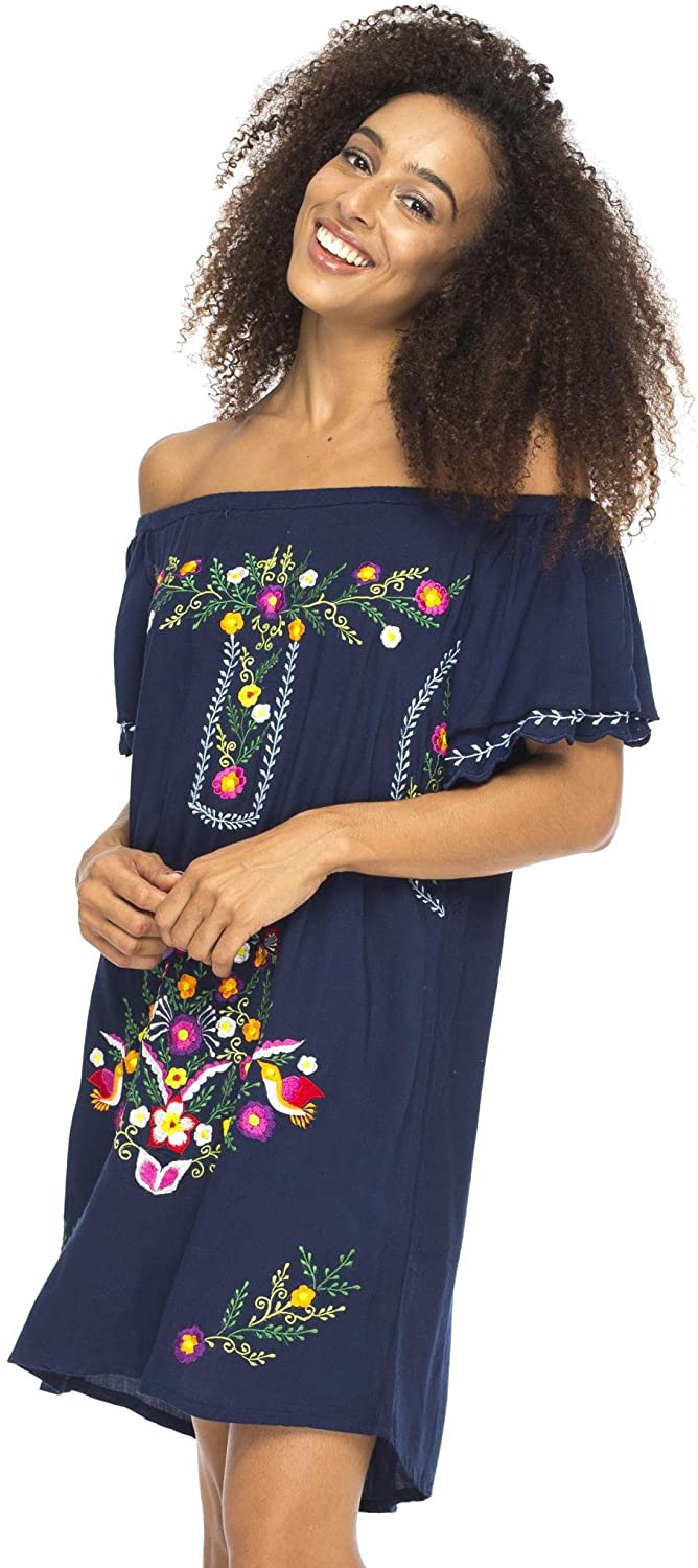 Short Off The Shoulder Dress with Mexican Embroidery