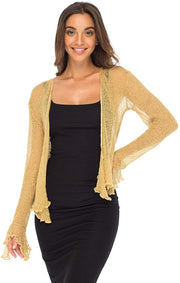 Back From Bali Womens Sheer Shrug Bolero Long Sleeves Cropped Cardigan Lite Bell Sleeves Natural Gold S/M