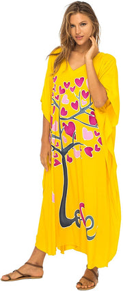 Back From Bali Womens Beach Cover Up Maxi, Kaftan Love Tree Beach Dress Swimsuit Cover Up Yellow S/M
