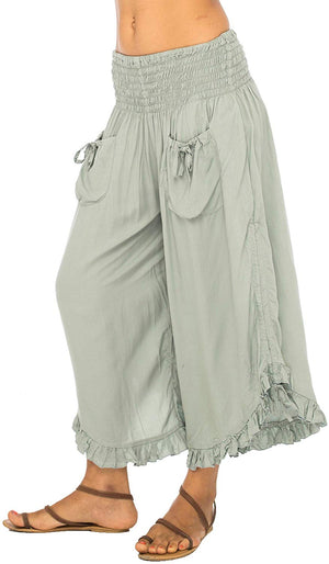 Back From Bali Womens Wide Leg Comfort Elastic Waist Crop Ruffle Hem Audi Pants Grey S/M