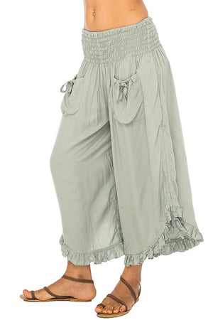 Back From Bali Womens Wide Leg Comfort Elastic Waist Crop Ruffle Hem Audi Pants