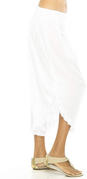 Back From Bali Womens Wide Leg Comfort Elastic Waist Crop Ruffle Hem Audi Pants White L/XL