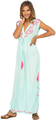 Back From Bali Womens Long Maxi Dress Boho Embroidered Sleeveless Summer Sundress Deep V Neck Aqua M/L