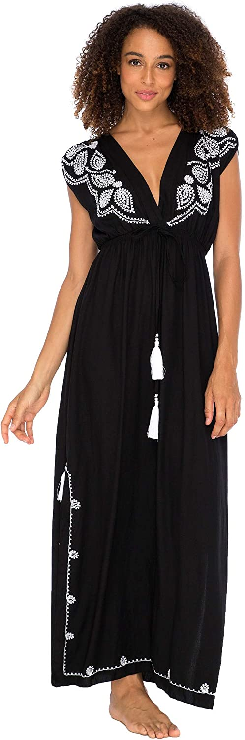 Back From Bali Womens Long Maxi Dress Boho Embroidered Sleeveless Summer Sundress Deep V Neck Black M/L
