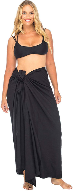 Plus Size Solid Beaded Sarong Swimsuit Cover up with Coconut Clip