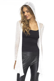 Open Front Long Sleeves Sheer Hooded Cardigan