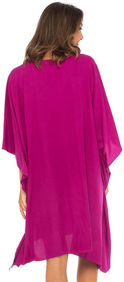 Frangipani Floral Designed Loose Opaque Short Cover Up Caftan