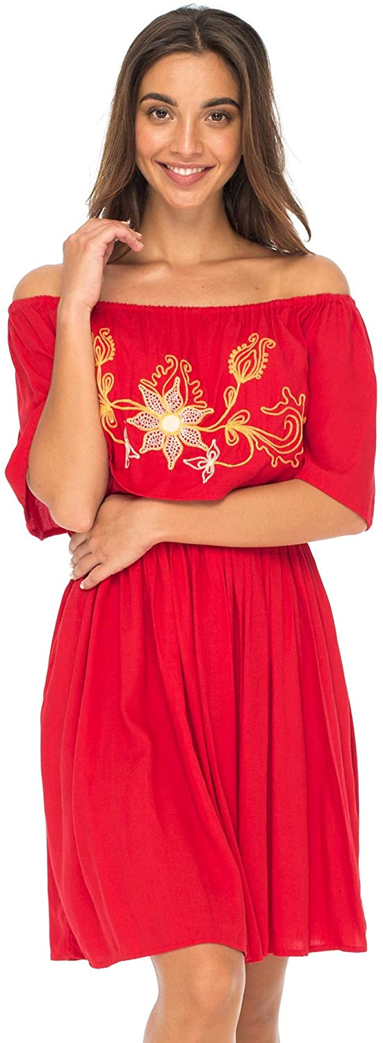 Back From Bali Womens Off Shoulder Boho Embroidered Dress Short Ruffle Beach Sundress Red M/L