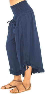 Back From Bali Womens Wide Leg Comfort Elastic Waist Crop Ruffle Hem Audi Pants Navy S/M