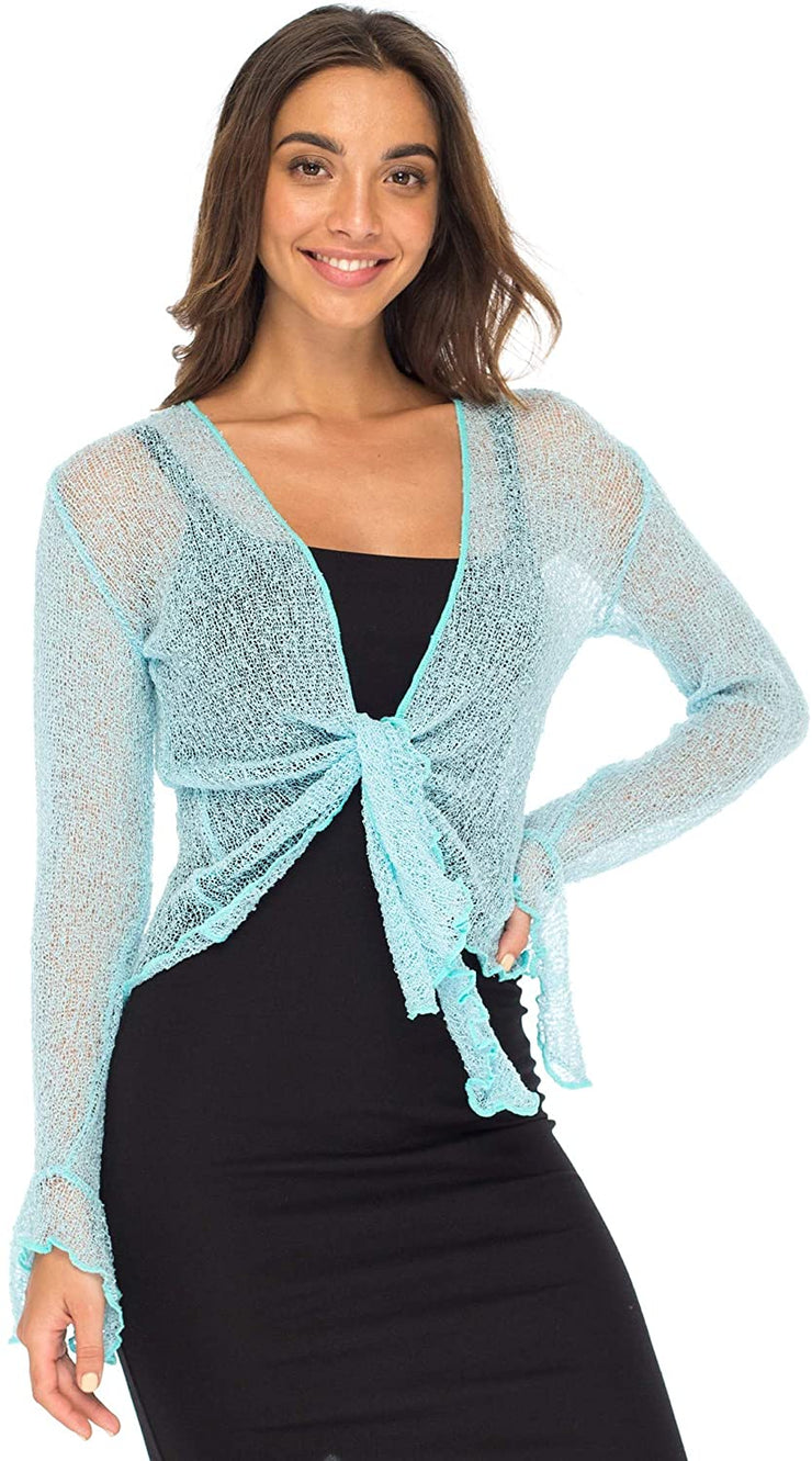 Back From Bali Womens Sheer Shrug Bolero Long Sleeves Cropped Cardigan Lite Bell Sleeves Powder Blue S/M