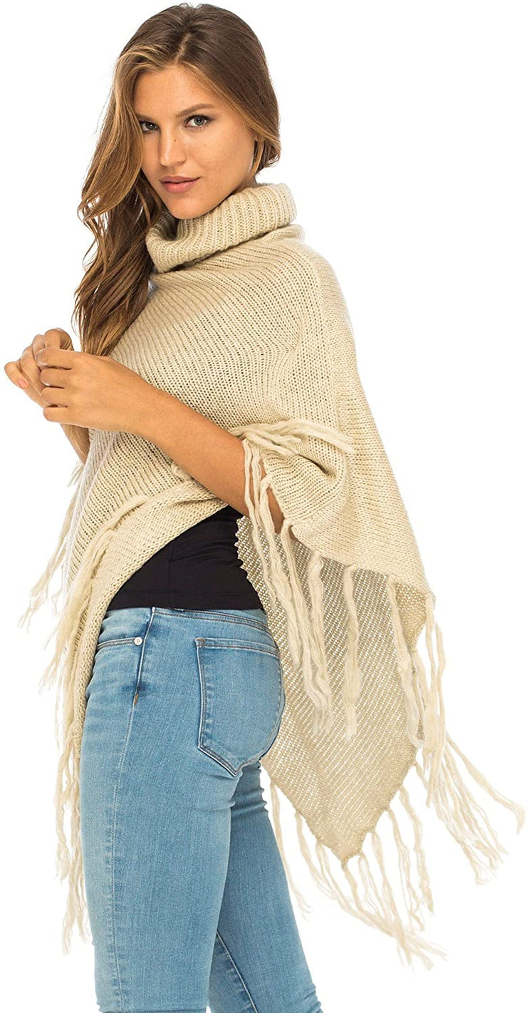 Knit Fringed Poncho Boho Sweater Cape with Cowl Neck Soft Winter Shawl