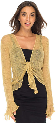 Back From Bali Womens Sheer Shrug Bolero Long Sleeves Cropped Cardigan Lite Bell Sleeves Natural Gold L/XL
