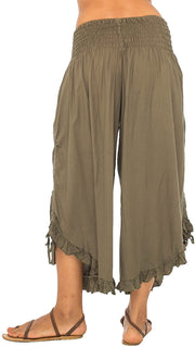 Back From Bali Womens Wide Leg Comfort Elastic Waist Crop Ruffle Hem Audi Pants Olive L/XL