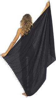 Back From Bali Womens Beaded Sarong Swimsuit Beach Cover Up Bathing Suit Bikini Wrap with Coconut Clip Black