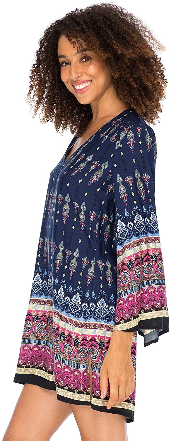 Back From Bali Womens Boho Print Beach Dress V Neck Loose Tunic Top Swimsuit Cover Up Casual Bohemian Sundress