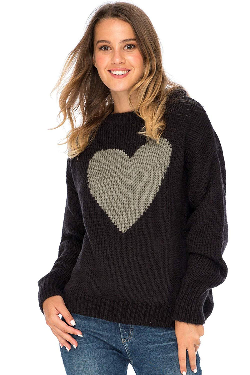 Back From Bali Womens Knit Pullover Loose Fit Sweater Color Block Heart Casual Long Sleeve Boyfriend Crew Neck