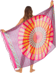 Back From Bali Womens Beach Swimsuit Bikini Cover Up Wrap and Clip Sarong Peacock Fuchsia Mint