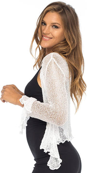 Back From Bali Womens Sheer Shrug Bolero Long Sleeves Cropped Cardigan Lite Bell Sleeves White L/XL