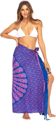 Back From Bali Womens Beach Swimsuit Bikini Cover Up Wrap and Clip Sarong Peacock Blue Pink