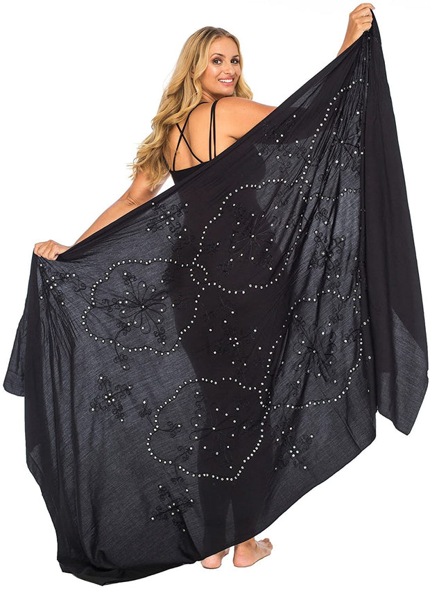 Plus Size Sarong Swimsuit Cover Up Embroidered Beach Wear Bikini Wrap Skirt with Coconut Clip
