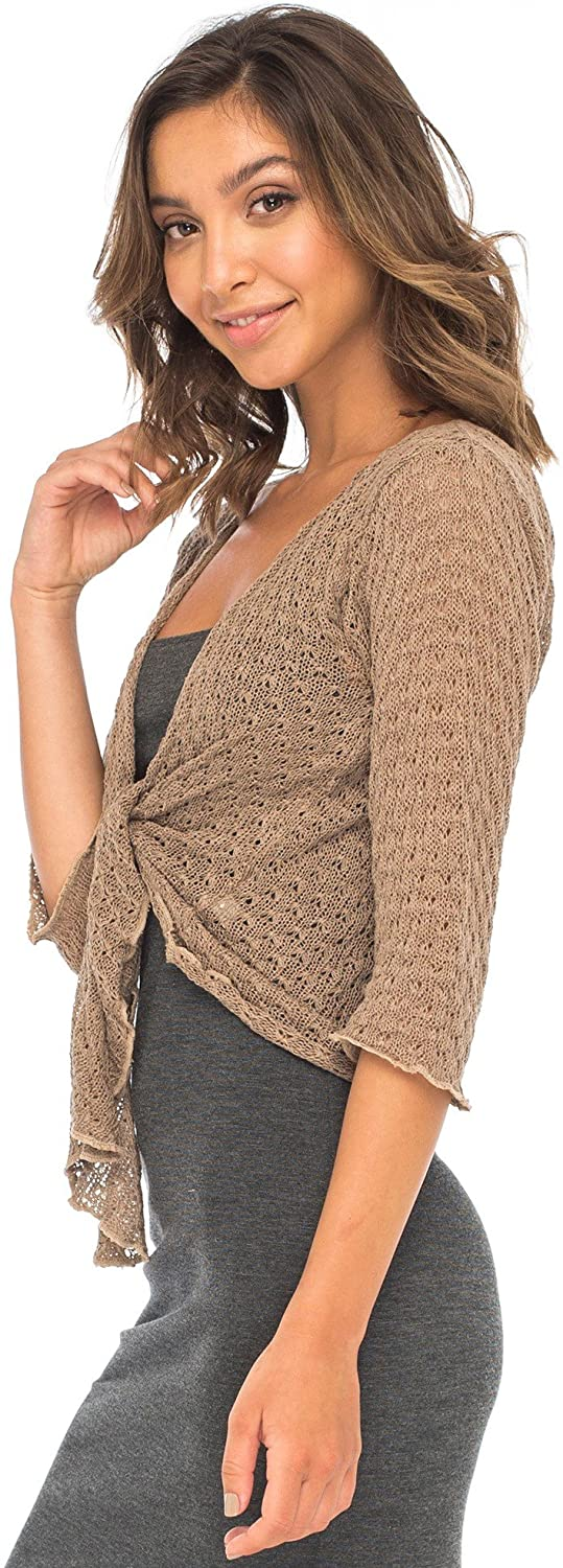 Bolero Tie Front Shrug-100% Cotton Lightweight Sweater