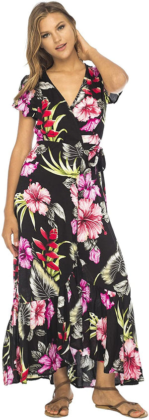 Long Maxi Floral Wrap Dress with Ruffle Hem