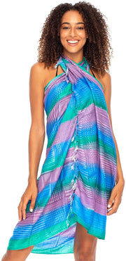 Striped Sarong Wrap Bikini Swimsuit Beach Cover Up with Coconut Clip