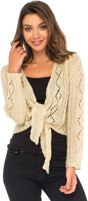 Cable Knit Shrug Bolero Long Sleeve Boho Cardigan Tie Front
