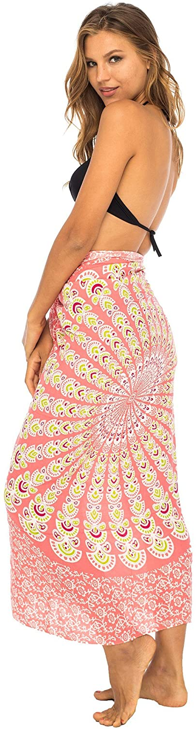 Back From Bali Womens Beach Swimsuit Bikini Cover Up Wrap and Clip Sarong Peacock Gaza Peach