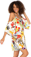 Flirty Beach Dress Cold Shoulder Tunic Top Sundress