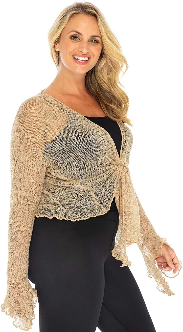 Plus Size Sheer Shrug Bolero Long Sleeves Cropped Cardigan Bell Sleeves 2X 3X 4X Lightweight