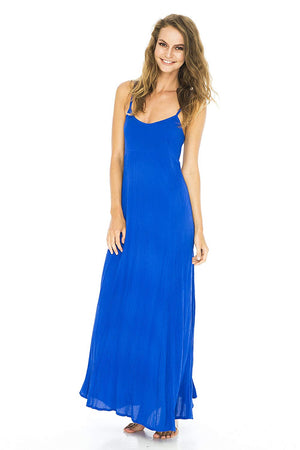 Dress Maxi Solid Blue Small