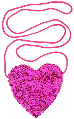 Little Girls Small Heart Shaped Bag with Strap Sequins Bright Pink