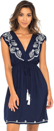 Back From Bali Womens Dress Boho Embroidered Sleeveless Summer Sundress Deep V Neck Midi Short Dress Navy M/L