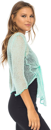 Back From Bali Womens Lightweight Knit Cardigan Shrug Lite Sheer Aqua
