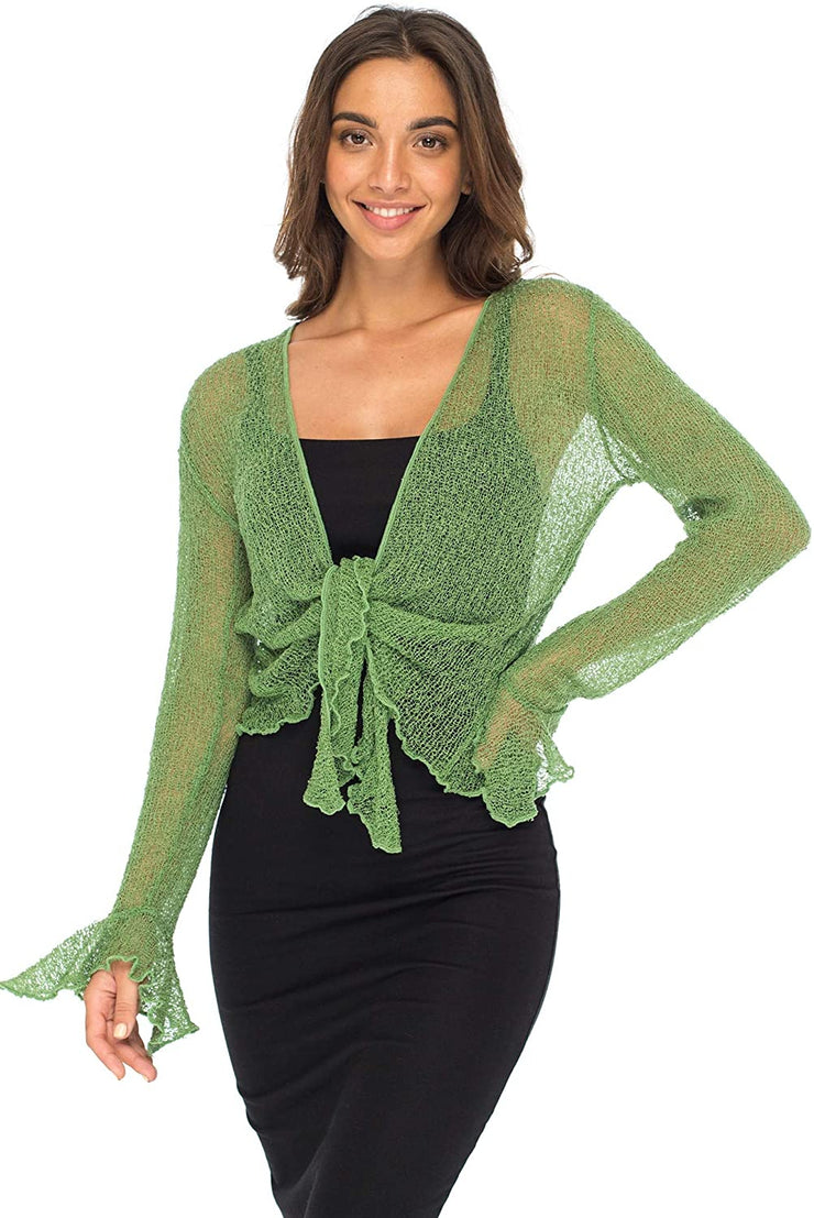 Back From Bali Womens Sheer Shrug Bolero Long Sleeves Cropped Cardigan Lite Bell Sleeves Green L/XL