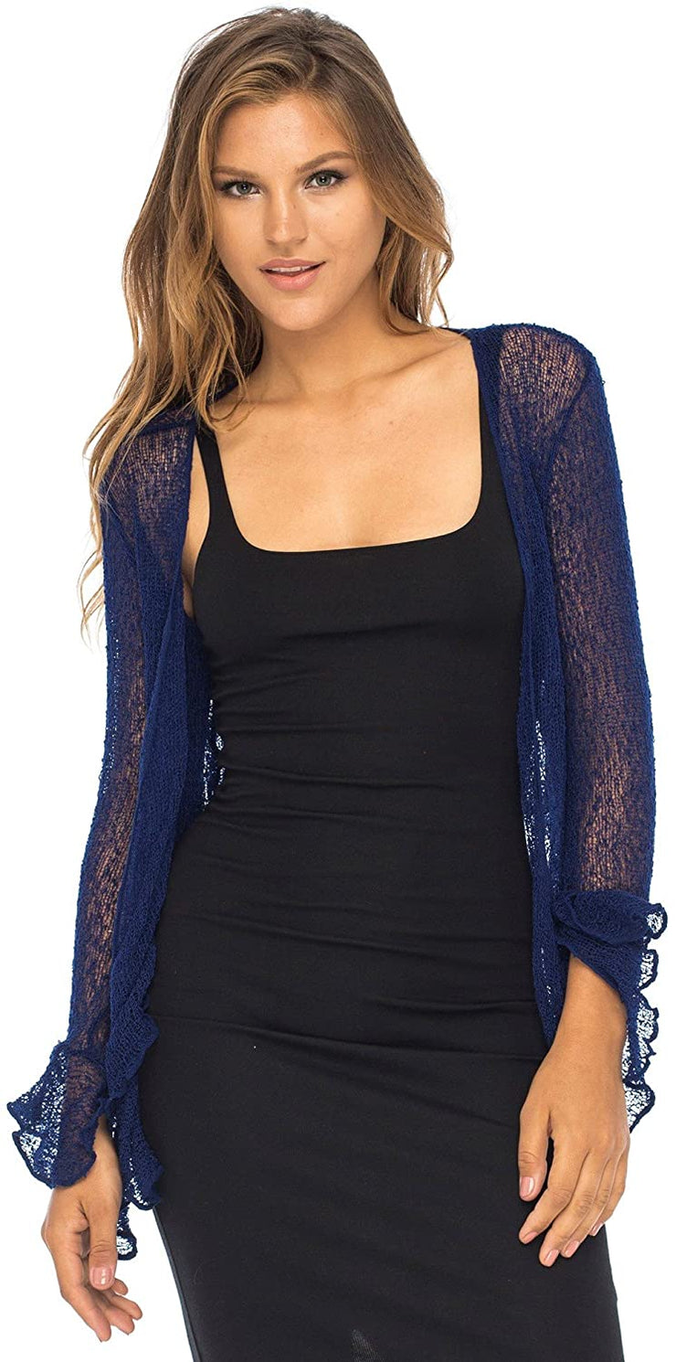 Back From Bali Womens Sheer Shrug Bolero Long Sleeves Cropped Cardigan Lite Bell Sleeves Navy S/M