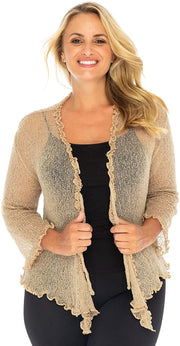 Plus Size Ruffle Shrug Bolero Sheer Cardigan Arm Cover One Size Fits 2X 3X 4X Lightweight