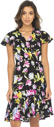 Back From Bali Womens Wrap Dress Floral Print Deep V Neck Short Sleeves Knee Length Boho Black Large