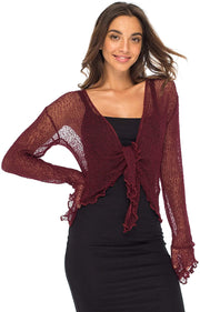 Back From Bali Womens Sheer Shrug Bolero Long Sleeves Cropped Cardigan Lite Bell Sleeves Maroon S/M