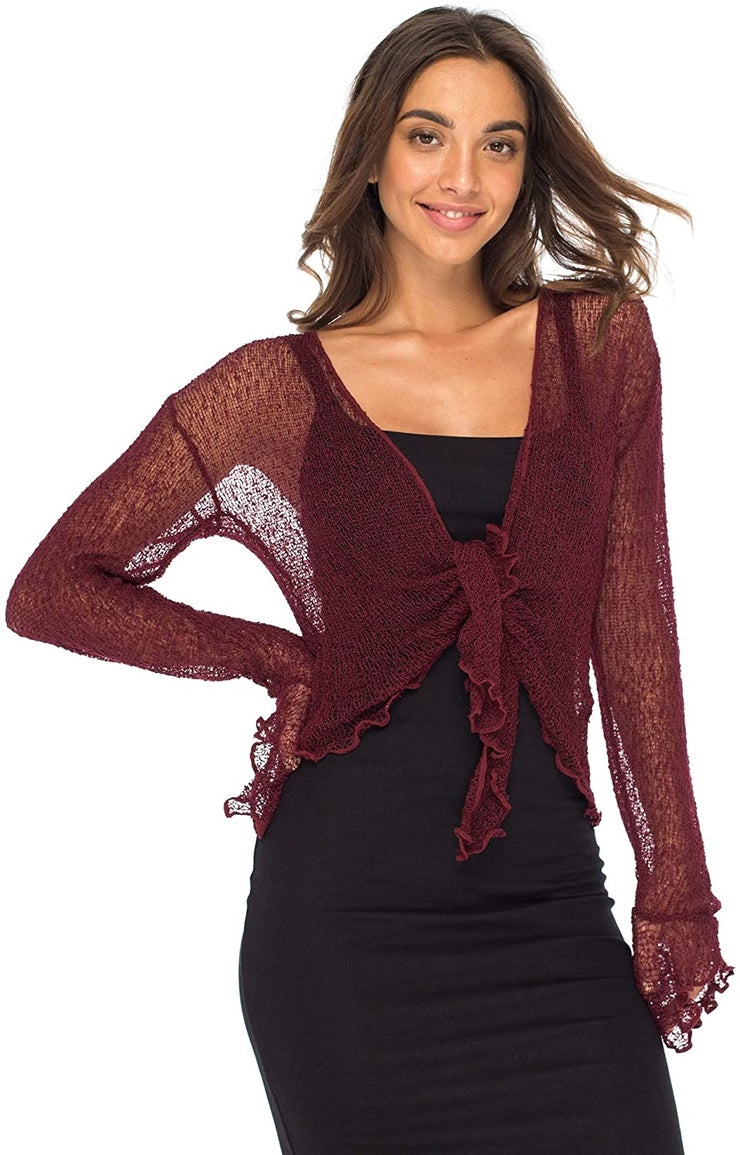 Back From Bali Womens Sheer Shrug Bolero Long Sleeves Cropped Cardigan Lite Bell Sleeves Maroon L/XL